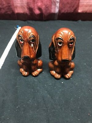 Vintage Ceramic Dog Crying Pair of Salt and Pepper Shakers Enesco Japan.