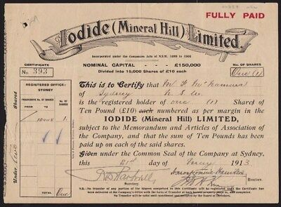AUSTRALIA: 1913 Share Certificate. Lodide (Mineral Hill) Limited