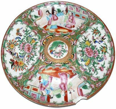 """Rose Medallion Plate Antique 1840 Chinese Export 9.5"""" Plate"""