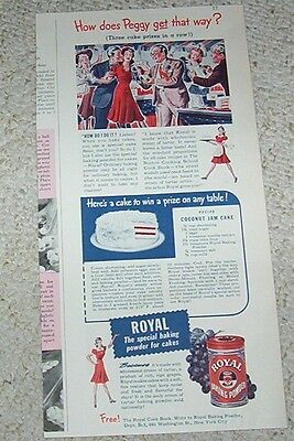 1942 print ad - Royal baking powder Coconut Jam Cake recipe OLD vintage ADVERT
