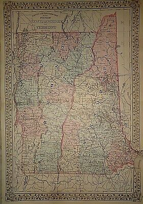Vintage 1880 NEW HAMPSHIRE - VERMONT MAP ~ Old Antique Original Atlas Map 22715