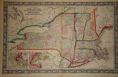 Vintage 1865 NEW YORK - SOUTHERN  NEW ENGLAND MAP ~ Old Antique Original 122714