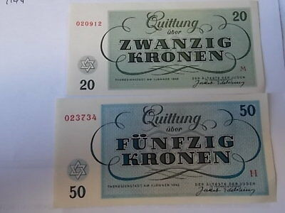 1943 Theresienstadt Concentration Camp Banknotes 20 & 50 Kronen Uncirculated