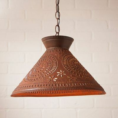 Country new distressed rusty punched tin ROOSEVELT shade ceiling light / nice