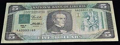 Liberia 5 Dollars Banknote - CAT $2.50 #19 - VF