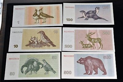 Lithuania Talonas 5 Banknote Set - CAT $78 #39-44 - UNC