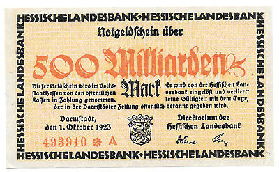 Hessen - Hessische Landesbank - 500 Milliarden Mark - 1.10.1923