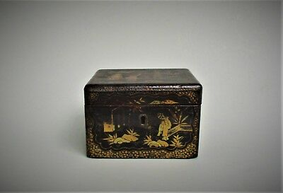 Antique 19th Century Chinese Black Lacquered Wood Tea Caddy Box