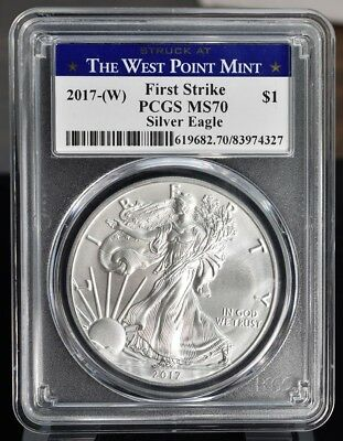 2017-(W) American Silver Eagle - PCGS MS70 First Strike Struck At West Point