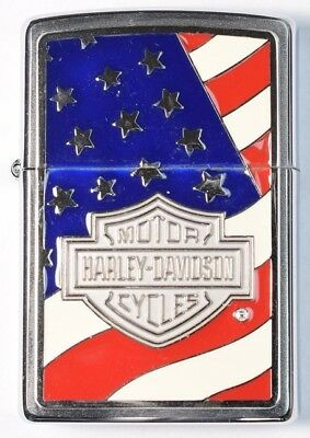 2005 Zippo Harley-Davidson Motor Cycles Patriotic - W/ Original Box & Red Seal