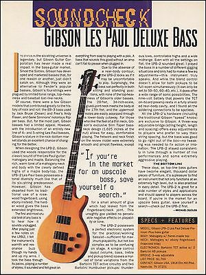 The Gibson LPB-2 Les Paul Deluxe Bass guitar 8 x 11 sound check review article