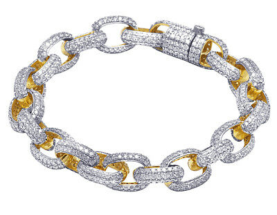 10K Yellow Gold Genuine Diamond Iced Rolo H-Link Bracelet 18 CT 10MM 7.5 Ins