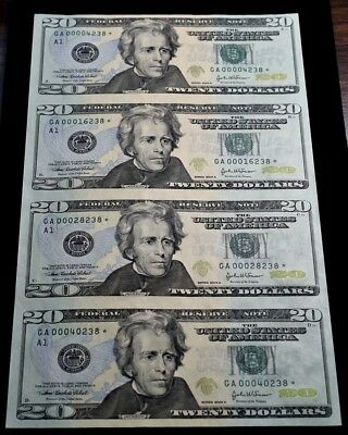 2004-A Federal Reserve $20 Notes - Sheet Of 4 Uncut Star Notes