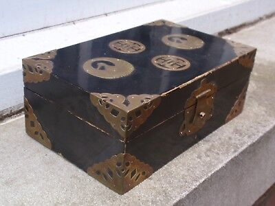 Vintage Antique Style Chinese Oriental Black Lacquer Brass Finish Desk Top Box