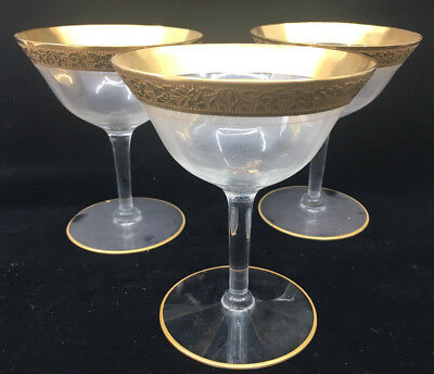 3 Champagne Tall Sherbet Glasses Stem Tiffin Rambler Rose Clear Franciscan 14196