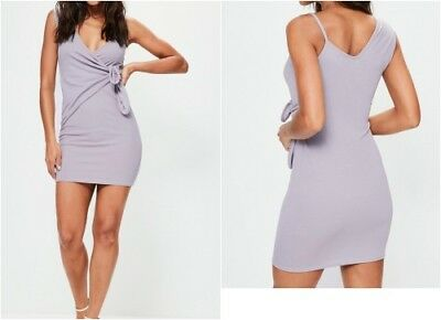 MISSGUIDED PLUNGE WRAP Tie Detail Bodycon Dress in Grey Purple (smg13) -  EUR 16 0aac885f2