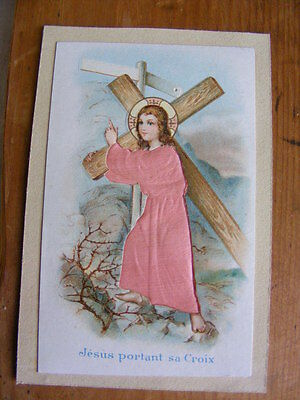 Image Chromo Cutting embossed dressed silk 19th Jesus carrying sa cross