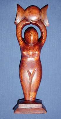 TRIPLE MOON GODDESS HAND CARVED OAK ALTAR STATUE Wicca Pagan Witch Goth