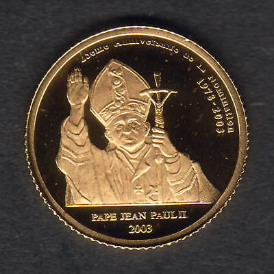Congo. 2003 Gold 20 Francs.. Pope John Paul 11.  1.224gms  .9999 gold.. Proof