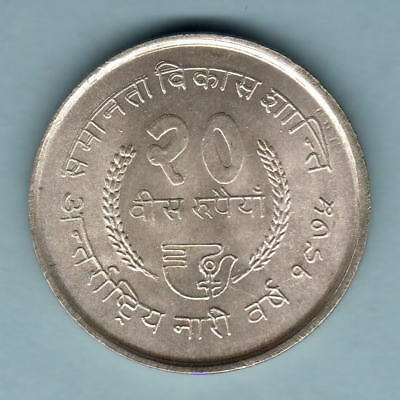 Nepal. VS-2032 20 Rupees.. Silver FAO Issue.. KM-836..  BU