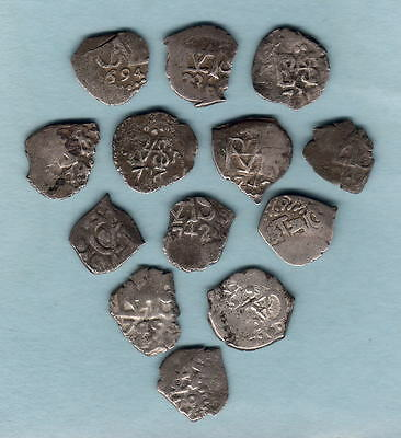Bolivia. Silver 1/2 Reales from 17th & 18th Century. Potosi & Lima Mints.. F- VF