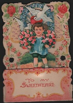 Vintage pop-up 3-D honeycomb Valentine Card Sweetheart Boy carry 2 flowers Dove
