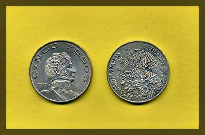 Armored Bust Just Mexico 1972-5 Pesos Copper-nickel Coin National Arms