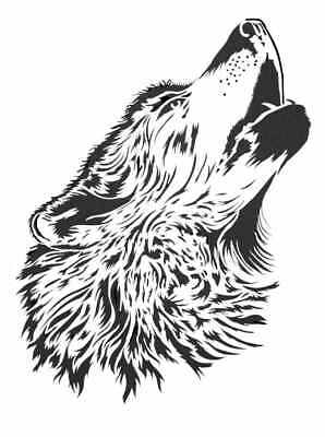 high detail airbrush stencil howling wolf FREE UK POSTAGE