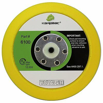 "Karebac 6100 Back-up Sanding Pad, PSA 6"" Diameter x 3/4"" Thick, 5/16""-24 Thread"
