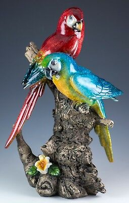 """Blue and Scarlet Macaw Parrot Bird Figurine 10"""" High Glossy Finish New In Box"""