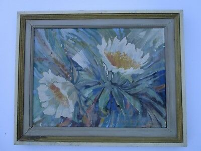 Vintage Hawaii Impressionist Painting 1950'S Floral Flowers Signed Chas David