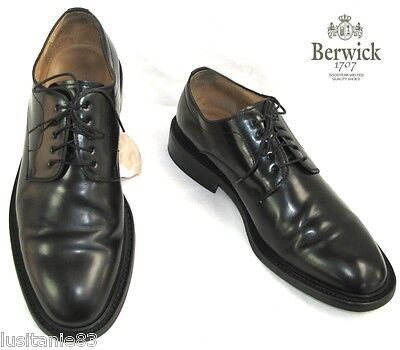 Berwick 1707 - Shoes Lace up all Leather Iced Black 44 - Mint