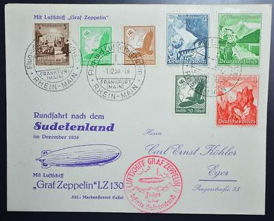 GERMANY to occupied CZECH 1938 ZEPPELIN, RARE Sudetenland Airship Flight Cover