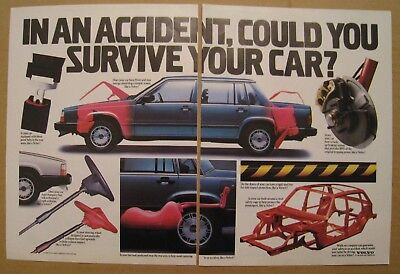 1986 Volvo - In an Accident, Could you Survive your Car? 2-pages Color AD