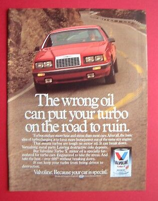 1986 Valvoline Turbo V Motor Oil Color AD