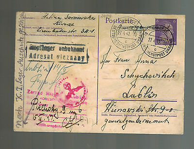 1942 Ukraine Cover to Woman Guard Lublin Concentration Camp fwd to Auschwitz KZ