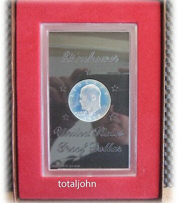 1972 S Eisenhower Silver Proof Dollar in ORIGINAL Brown Box