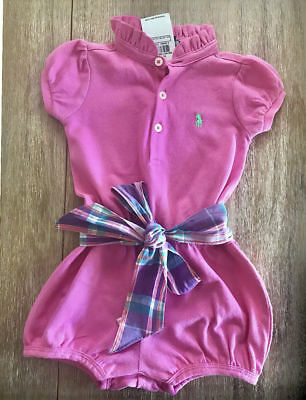 NWT Girls Ralph Lauren Pink Romper outfit shorts age 9 months