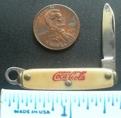 Old Miniature 1-5/8 inch Coca Cola USA Folding Knife and Keychain Fob