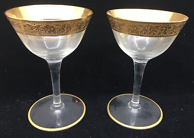 2 Champagne Tall Sherbets Glass Stems Tiffin Rambler Rose Clear Franciscan 14196