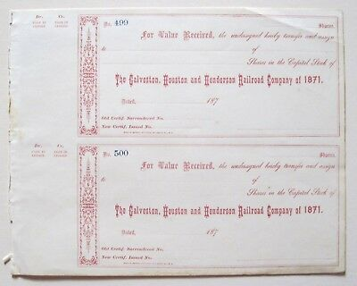 Galveston Houston & Henderson Railroad (Texas) Receipts 1870s