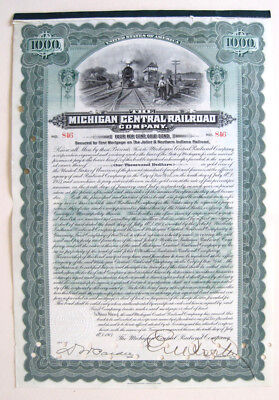 Michigan Central Railroad $1000 Bond 1907