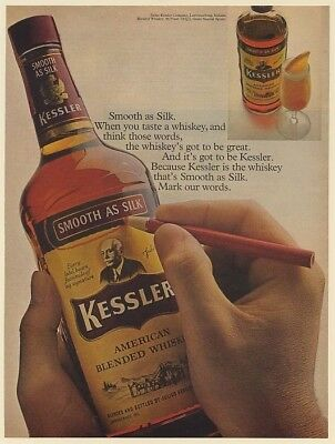 1969 Kessler Whiskey Smooth as Silk Mark Words on Bottle Print Ad