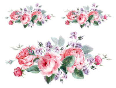 Shabby Pastel Watercolor Roses Flowers Swag Bouquet Waterslide Decals FL520