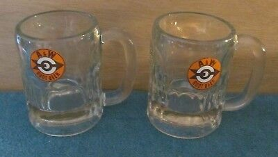 """Two A&W Root Beer Mugs with Old Bulls Eye Logo - 4 1/4"""" Mama Size 1950s"""