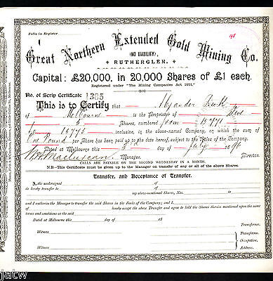 Share Scrip -  Mining. 1896 Great Northern Extended Gold Mining Co - Rutherglen