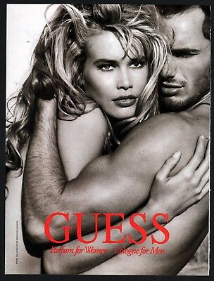 1992 CLAUDIA SCHIFFER Guess Perfume and Men's Cologne Vintage Photo AD