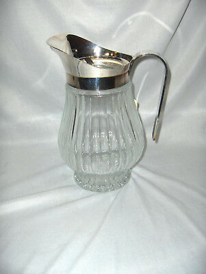 Vintage Godinger Silver Plate Lead Crystal Water Pitcher Ice Guard Italy NICE
