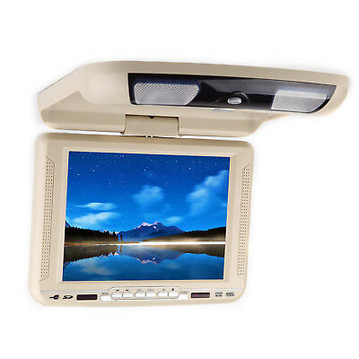 """Beige 10.4"""" HD Screen Car Flip Down with DVD Player Roof Mount Overhead Ceiling"""