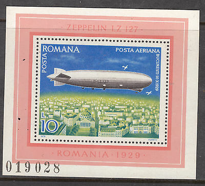 ROMANIA 1978 10.00  L Zeppelin Air mail MINT UNHINGED MS
